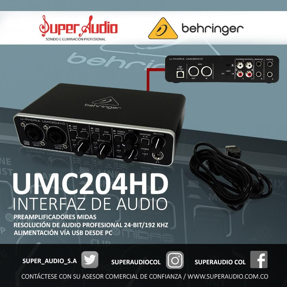 Interfaz de audio BEHRINGER UCM 204 HD