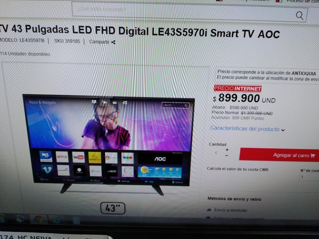 Vendo Tele Marca Aoc 43 Pulgadas Smart