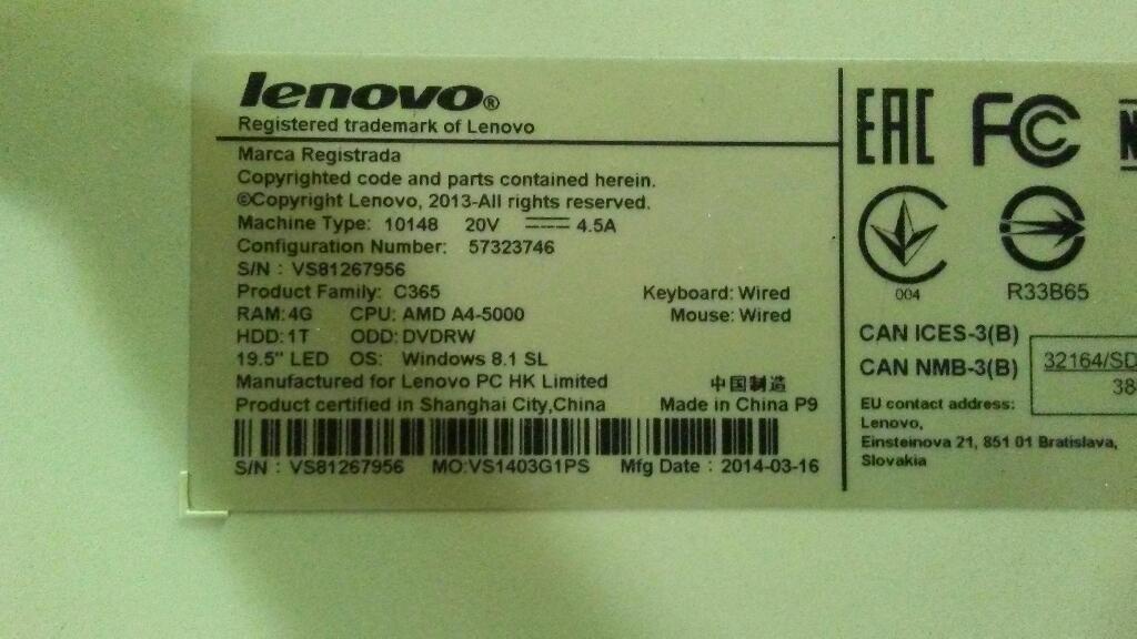 Vendo Todo en Uno Lenovo Tactil