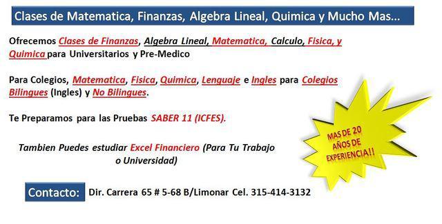 Clases de Matematica, Finanzas, Algebra Lineal, Quimica y