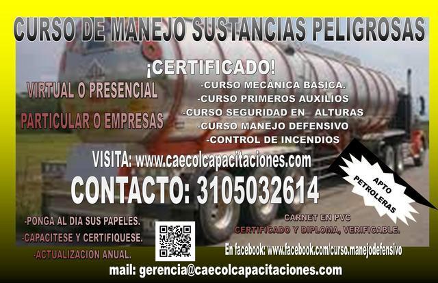 Curso de manejo y transporte de sustancias peligrosas en