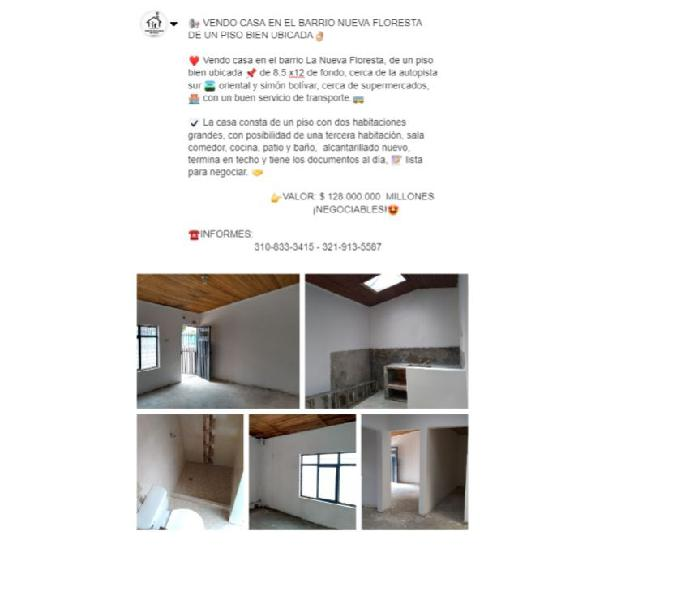 VENDO CASA EN LA NUEVA FLORESTA DE UN PISO. 128 MILLONES