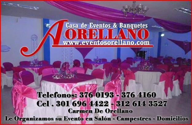 Banquetes Orellano Alquiler de Sillas Mesas. Salones. Cel.