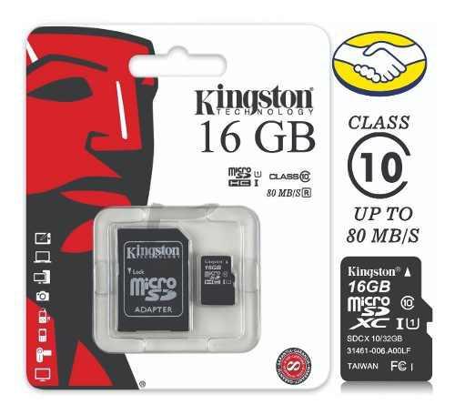 Memoria Micro Sd Kingston 16 Gb Clase 10 Nuevo