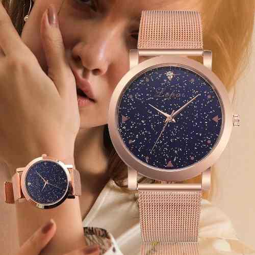 Reloj Moda Oro Rosa Mujer Lujo Casual Acero