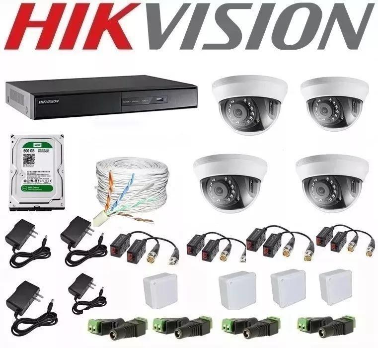 Kit De 4 Camaras De Seguridad Hikvision p dvr 4 Ch