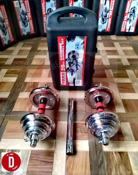 Kit de Pesas Mancuernas Cromadas de 20kg / 40 Libras con