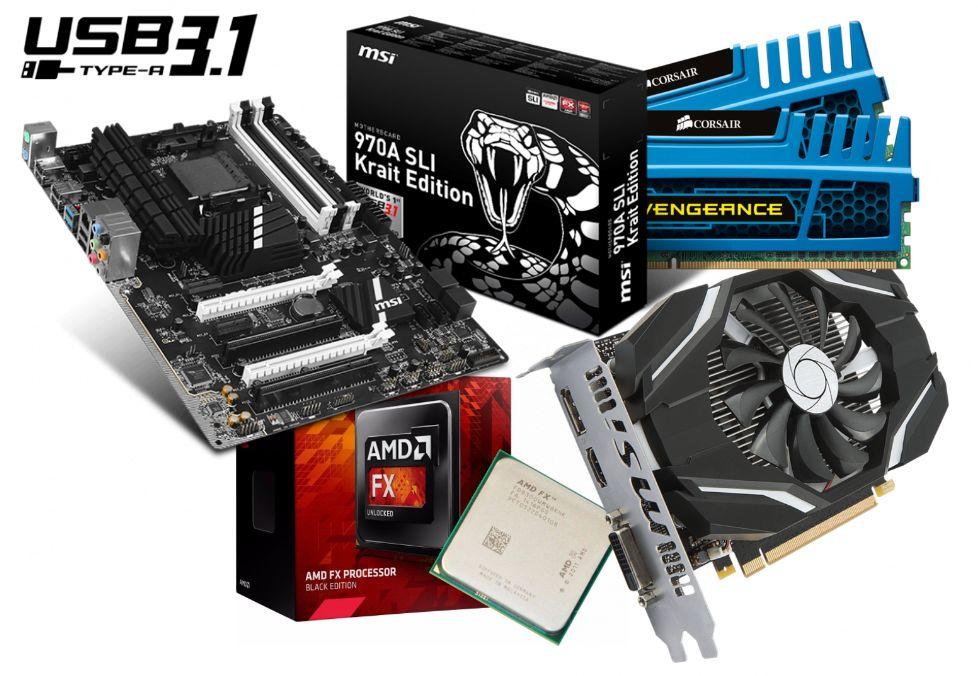 Combo GAMER Board MSI 970A 8 Gb RAM CPU AMD FX- GTX