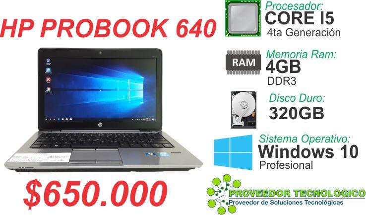 PORTATIL HP PROBOOK 640 COREI5 4TA GENERACION RAM 4GB DISCO