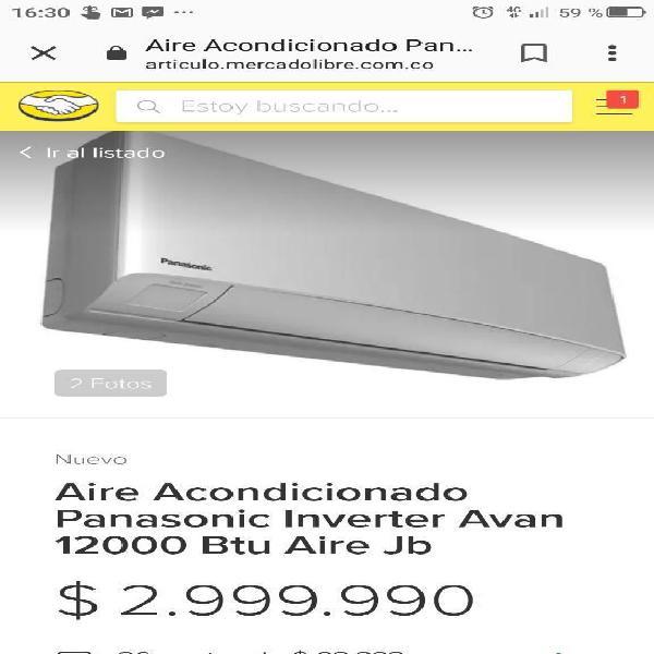 Aire Panasonic, Inverter, 12.000 Btu.