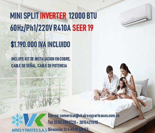 MINISPLIT MIRAGE INVERTER 12000BTU 220V/1/60HZ R410A SEER 19