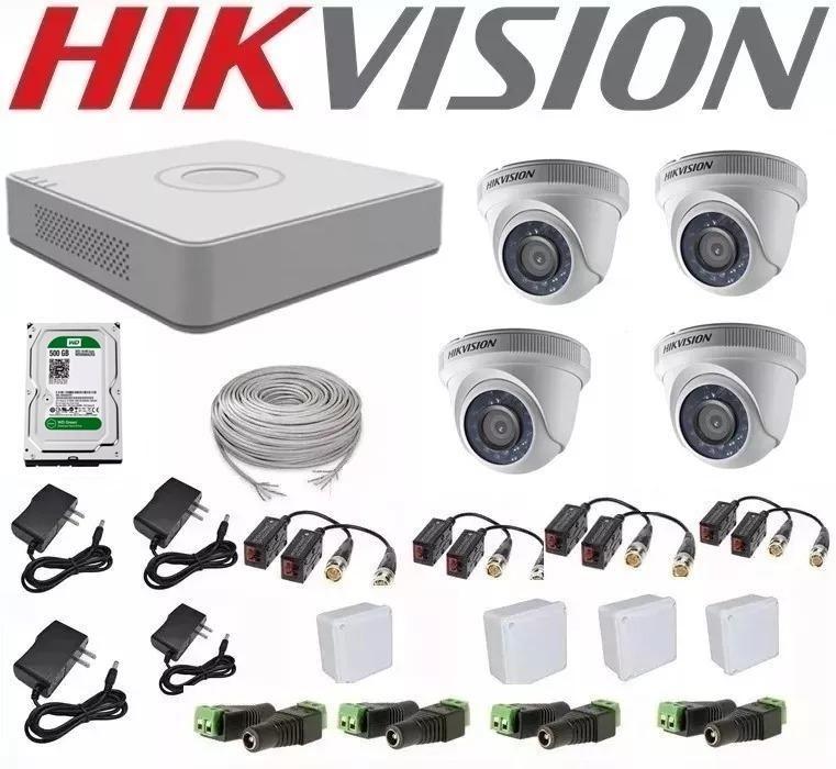Kit de 4 Camaras de Seguridad Hikvision Turbo HD 720p 1