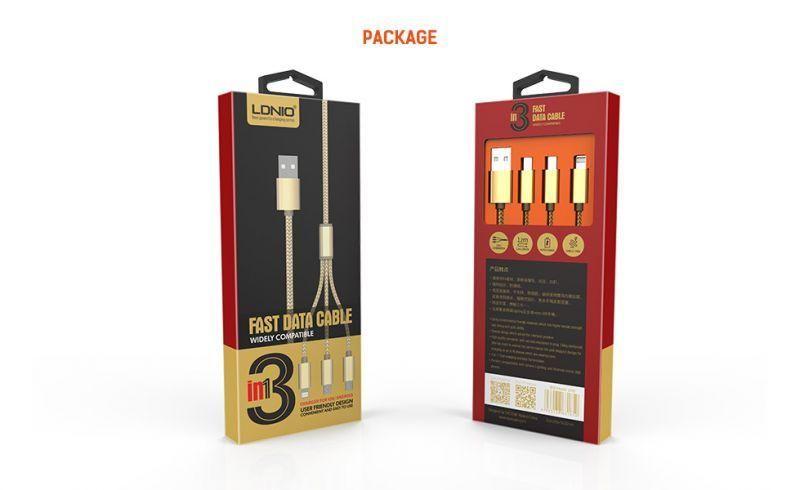 LDNIO LC85 3 EN 1 CABLE DE CARGA USB PARA MICRO ANDROIDES