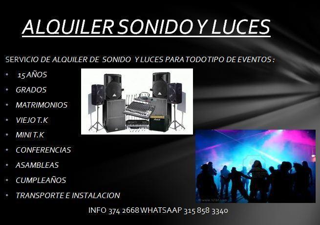 ALQUILER DE SONIDO PARA TODO TIPO DE EVENTOS Y FIESTAS,