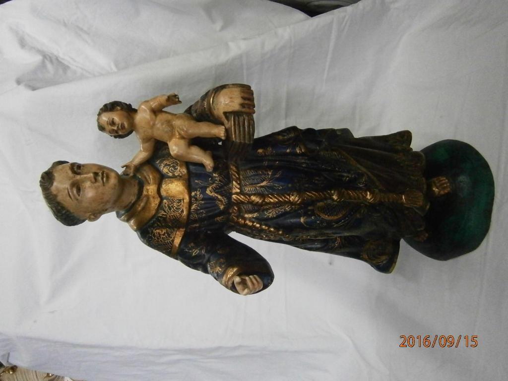 San antonio de padua en madera quiteña vestido azul con