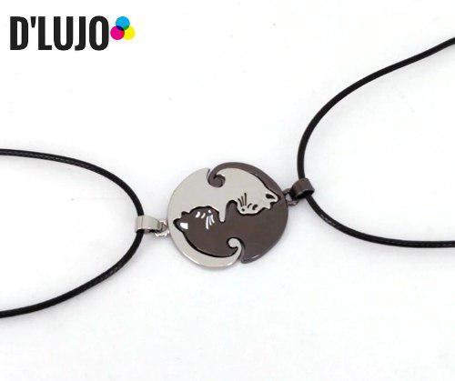 Collar 2x1 Amor Y Amistad Gato Yin Yang Dije +caja De Regalo