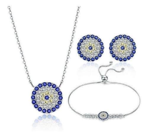 Collar Aretes Y Pulsera Para Mujer Ojo Azul En Plata 925