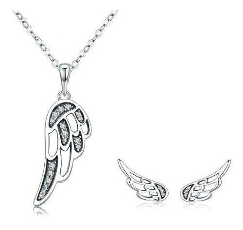 Collar Y Aretes Alas Angel Para Mujer En Plata 925