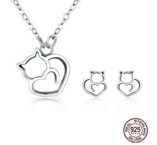Collar Y Aretes Para Mujer Gato Adorable En Plata 925