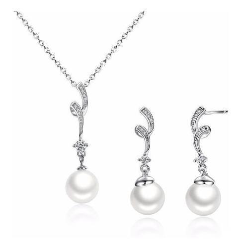 Collar Y Aretes Para Mujer Perlas Zircones En Plata 925