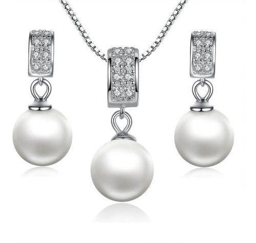 Juego De Collar Y Aretes Para Mujer Perlas Plata 925