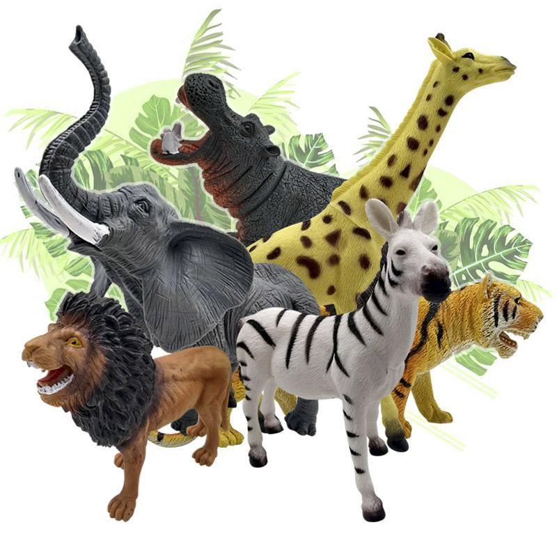 Figuras Animales Salvajes Grandes X6 Colección Juguete