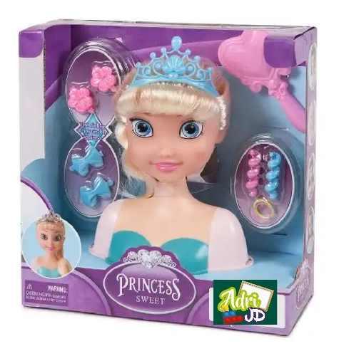 Muñeca Cabeza Para Peinar Princesas Con Accesorios Adri Jd