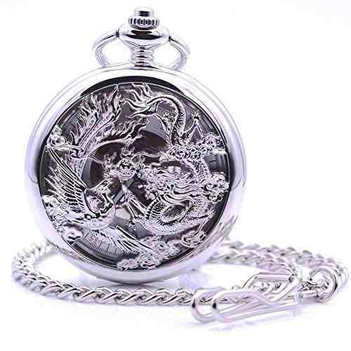 Antiguo Dragón Plata Reloj Bolsillo Mecánico Mano-viento
