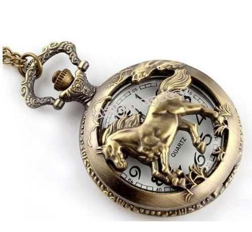 Antique Collar Del Reloj De Bolsillo Caballo De Bronce