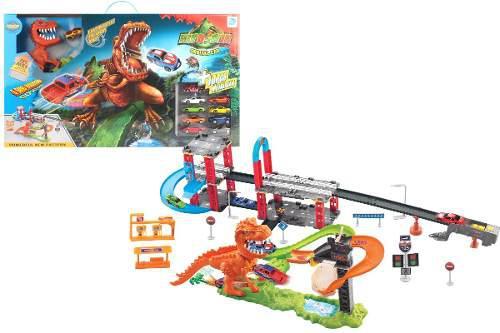 Pista Hot Doble Dinosaurio Rex Lavad +10carros Wheel 8899-94
