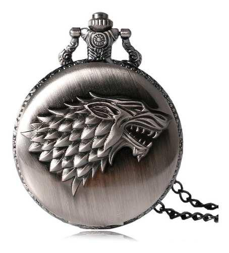 Reloj Bolsillo Game Of Thrones Cuarzo Analogico Lobo P1064