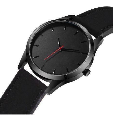 Reloj Hombre Cuarzo Deportivo Pulso Cuero T1300 Negro