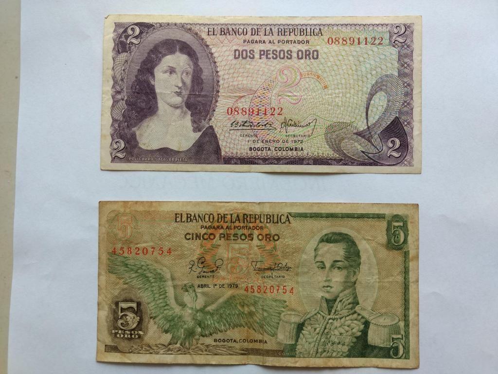 BILLETES ANTIGUOS DE 2 Y 5 PESOS AÑO  Y