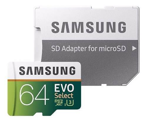 Memoria Samsung Evo Micro Sd 64 Gb Clase 10 U3 100 Mb/s 4k