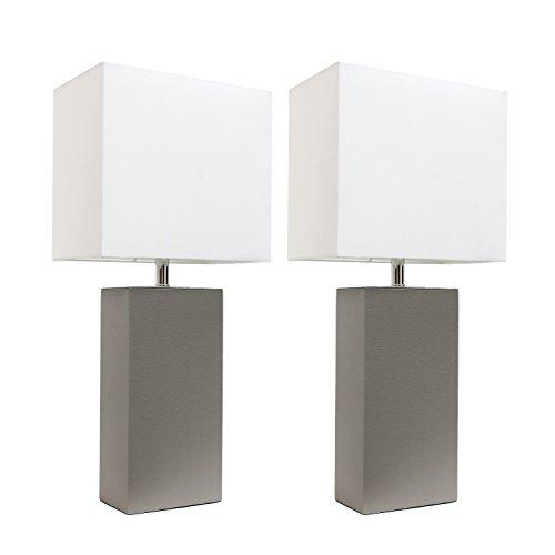 Elegant Designs Lc2000gry2pk 2 Pack Leather Lamps 2 Pack Mod