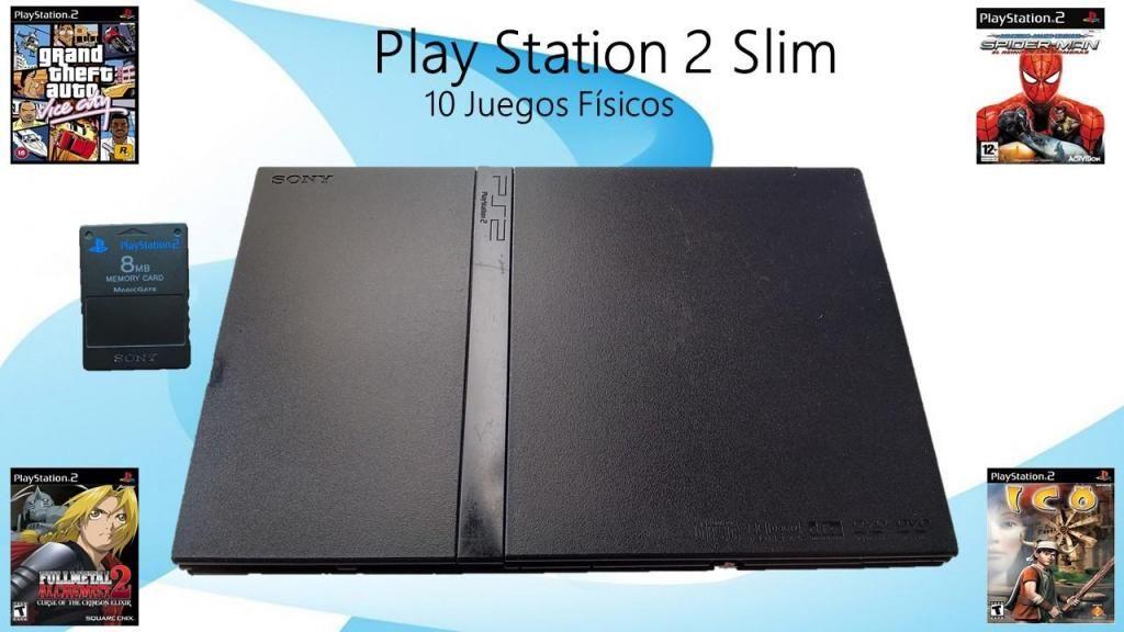 Play 2 Slim 1Control 10 Juegos Físicos en Excelente Estado