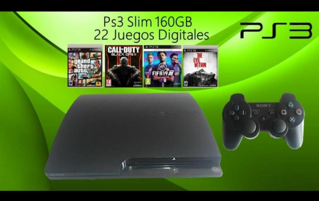 Play 3 Slim 22 Juegos Digitales Programada 160GB