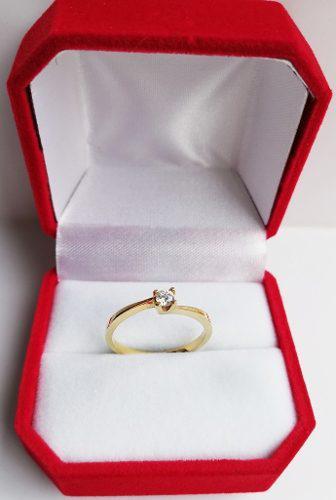 Anillo Compromiso Oro 18 K Diamante Certificado De 0.10 Ct.