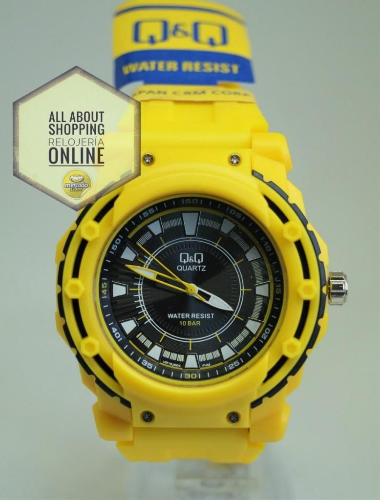 Reloj Q y Q Análogo Vr16j004 Amarillo Negro R. Agua