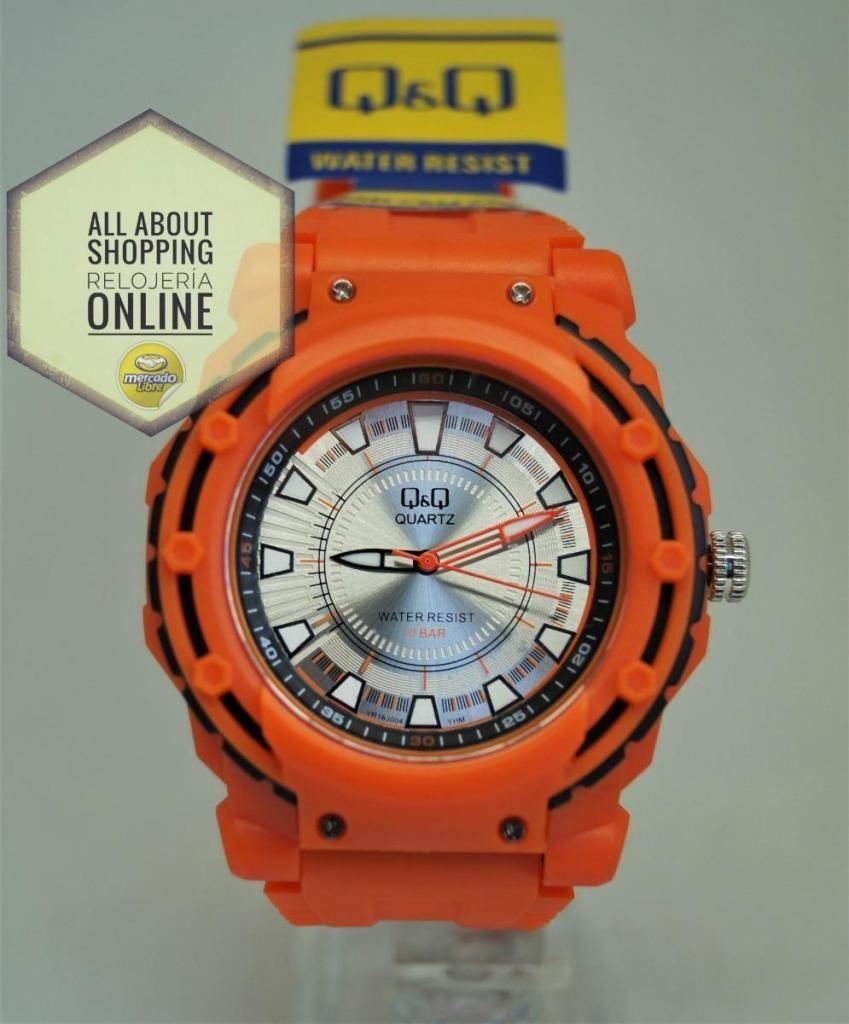Reloj QyQ Análogo Vr16j004 Naranja Resistente Agua