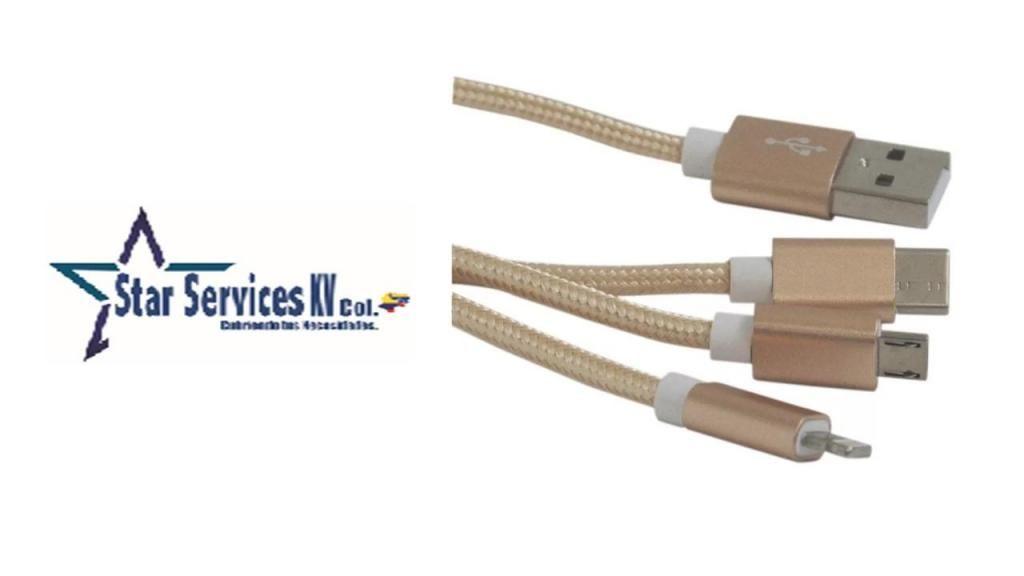 CABLE CARGADOS 3 EN 1 ENTRADAS MICRO TIPO C Y IPHONE