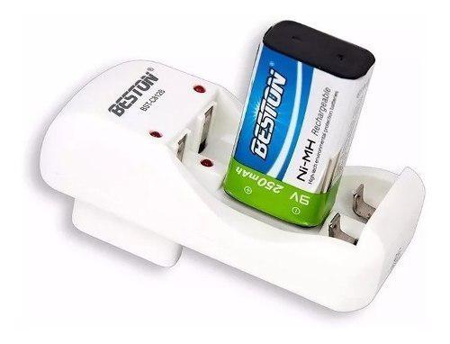 Bateria Pila Beston 9v 250 Mah Recargable + Cargador Aa Aaa