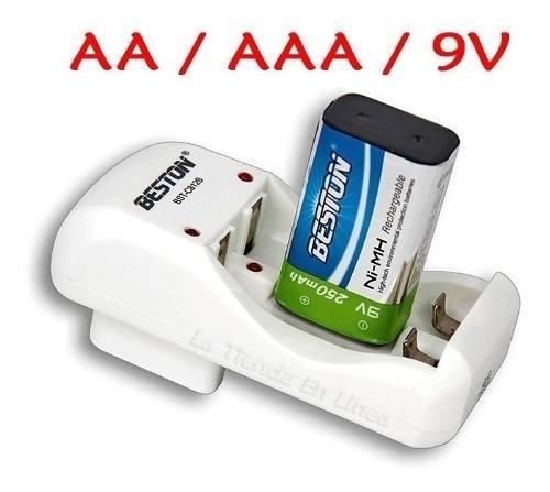 Cargador De Baterias Beston Original 9v Aa/aaa + 1 Pila 9v