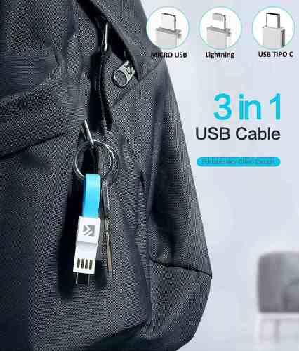 Cable 3 En 1 Lightning Micro + Tipo C A Usb 2.0 Llavero Iman