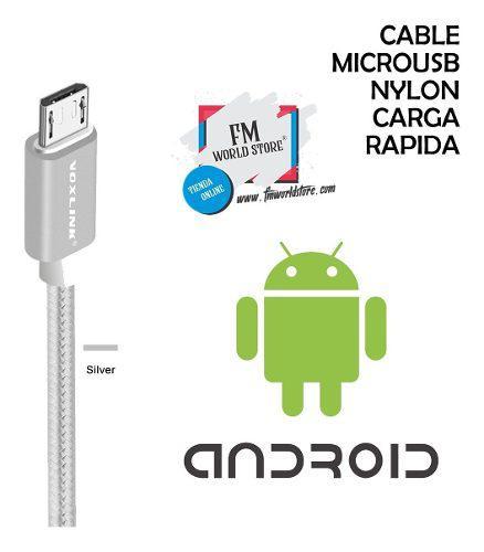 Cable Microusb Android Nylon Carga Rápida 3 Mts Gris