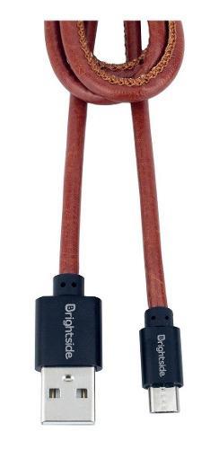 Cable Tipo Cuero Brightside Carga Rápida 2.4a 1 Mt