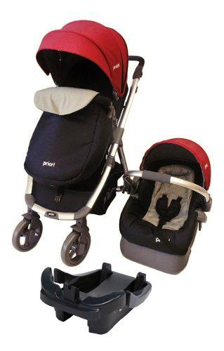 Coche Travel System +base + Portabebe Cubre Pies Rojo Modern