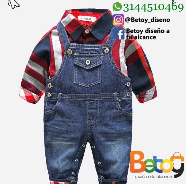 Overol en jean. Camisa para niño. Ropa para niño. Overol