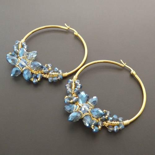 Aretes Cristales Para Mujer Tejidos A Mano Candonga Acero