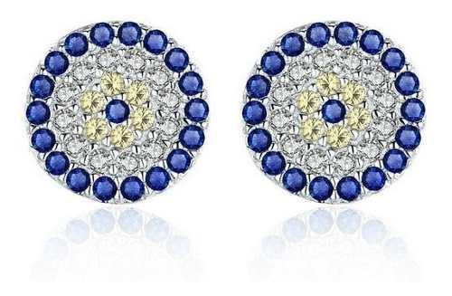 Aretes Para Mujer Ojo Azul Zircones Fabricados En Plata 925